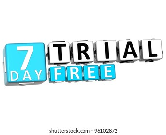 3D Get 7 Day Trail Free Block Letters over white background