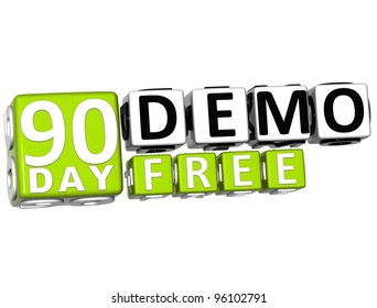 3D Get 90 Day Demo Free Block Letters over white background