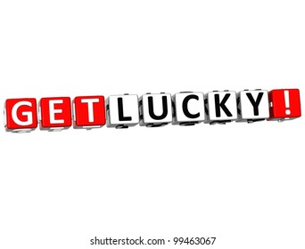 3D Get Lucky Block Text  on white background