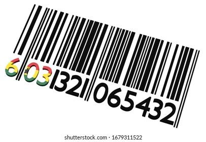 3d Code-barres ghanéen sur fond blanc