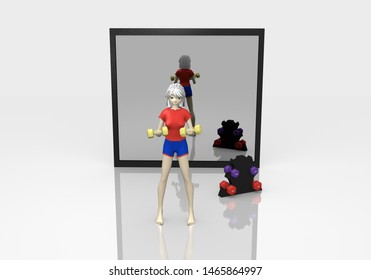 3d girl exercises with dumbbells on white ground with reflection. 3d rendering