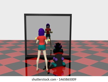 3d girl is exercising with dumbbells in front of a big mirror. 3d rendering