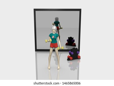 3d girl is exercising with dumbbells on white floor with reflection. Behind her is a mirror. 3d rendering