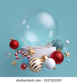 3d glass ball decorated with festive ornaments, isolated on blue background. Blank mockup. Glass balls, crystal stars, candy cane.