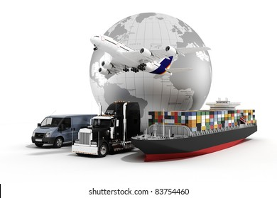 3d global business commerce concept