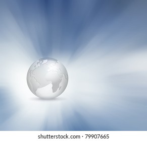 3d globe with abstract sky background - grey blue business world map design