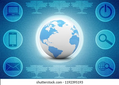 3D globe with blue continents and a white ocean. 3d render