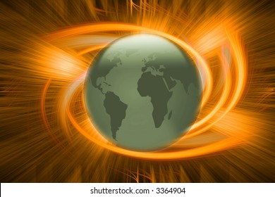 3d globe in front of abstract explosion