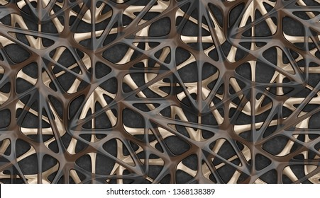 3d glossy red golden and transparent brown glass lattice grid on gray concrete background. High quality seamless realistic texture.