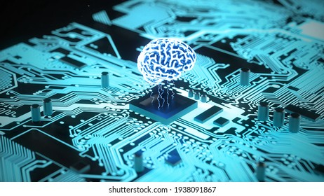 3D Glowing Motherboard AI Artificial intelligence. Computer brain with blue energy. Concept of machine learning. Technology Background CPU Circuit. binary numbers computer procesing.