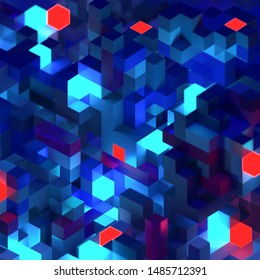 3D glowing pixels abstract isometric background