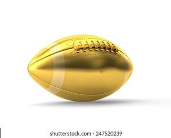3d gold american football ball