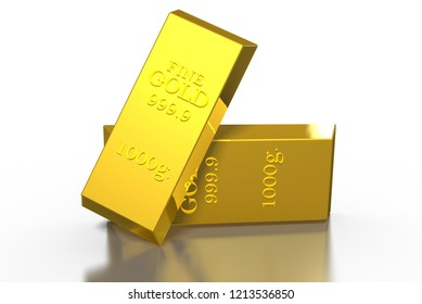 3D Gold bars weigh 2 kg.
