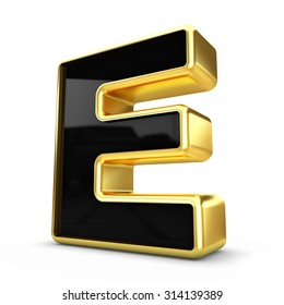 3d gold and black metal letter E isolated white background