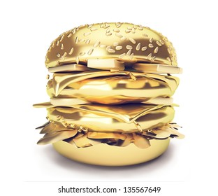 3d Gold burger. An Elegant fast food illustration Hamburger -Big burger with gold texture. Isolated on white background