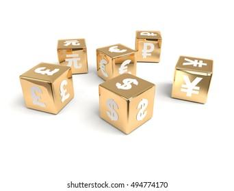 3d gold cubes of different currencies symbols