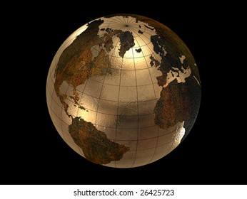3d gold earth isolated on black background