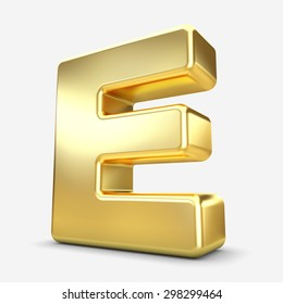 3d gold metal letter E isolated white background