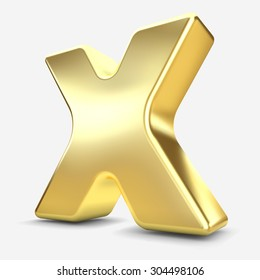3d gold metal letter X isolated white background