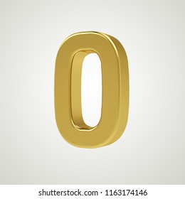 3d gold metal number 0 zero isolated white background