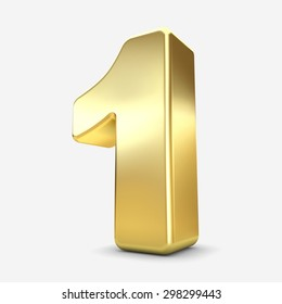3d gold metal number 1  one isolated white background