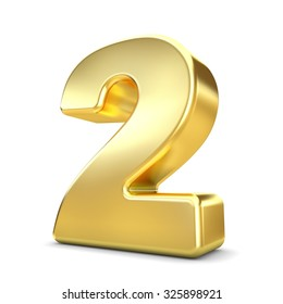 3d gold metal number 2 two isolated white background