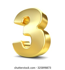 3d gold metal number 3 three isolated white background