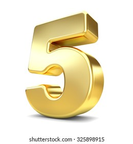 3d gold metal number 5 five isolated white background