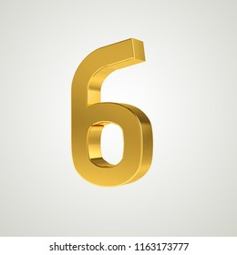 3d gold metal number 6 six isolated white background
