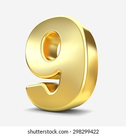 3d gold metal number 9 nine isolated white background