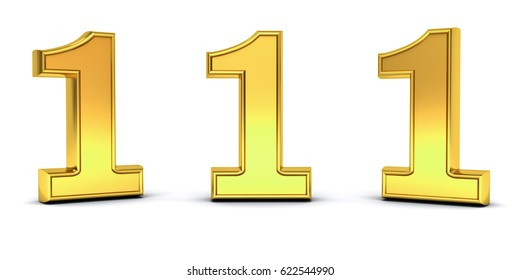 3D gold number one , 1 , with three different view angles isolated on white background with shadow . 3D rendering.