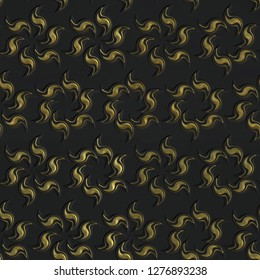 3D gold seamless pattern on black background