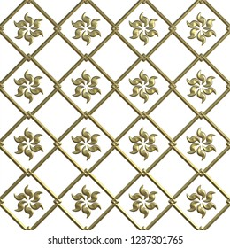 3d gold seamless pattern on white background