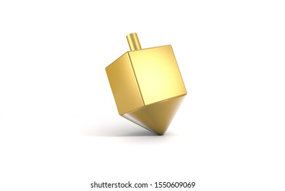 3d gold sevivon dreidels spinning top for hanukkah jewish holiday isolated on white