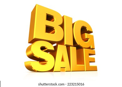 3D gold text big sale on white background with reflection.