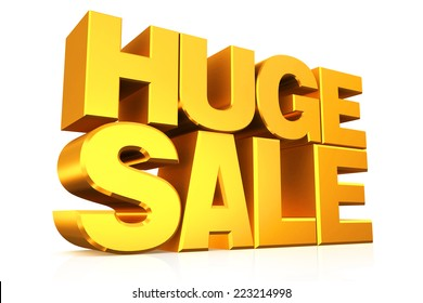 3D gold text huge sale on white background with reflection.