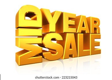 3D gold text mid year sale on white background with reflection.