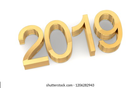 3D Golden 2019 on White Background. Three-dimensional rendering.
