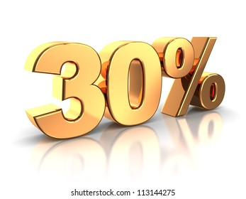 3d of golden 30 percent isolated on a white background