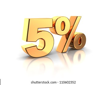 3d of golden 5 percent isolated on a white background