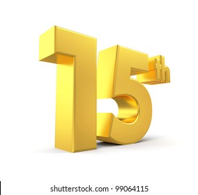 3d golden anniversary - 15th, isolated on white background
