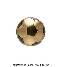 3D Golden and Black Soccer Ball on White Background