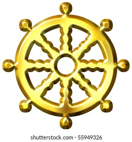 3d golden Buddhism symbol Wheel of Dharma. Represents Buddha's teaching of the path to enlightenment,