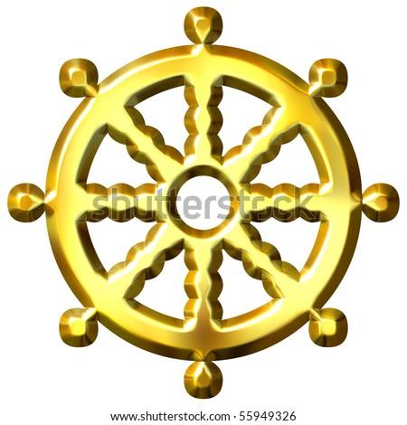 3 D Golden Buddhism Symbol Wheel Dharma Stock Illustration Royalty