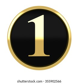 3d golden circle number 1 one with gold metal frame alphabet render