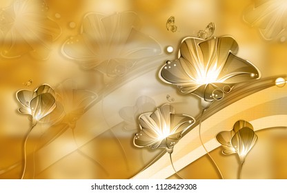 3d Golden floral abstraction wallpaper for walls.