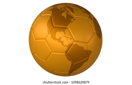 3D golden football (soccer ball) with map on white background. Focus on North America and South America