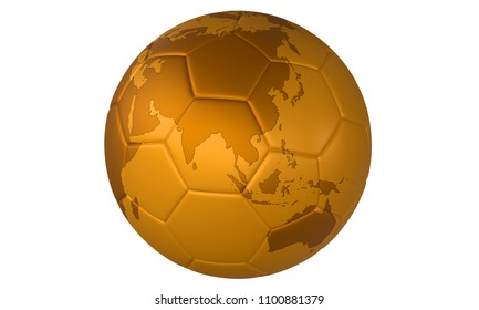 3D golden football (soccer ball) with map on white background. Focus on Australia and Asia