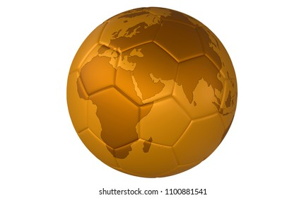 3D golden football (soccer ball) with map on white background. Focus on Europe, Asia and Africa
