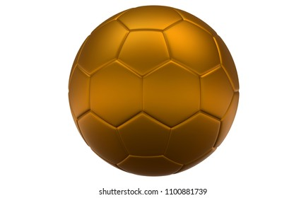 3D golden football (soccer ball) on white background.